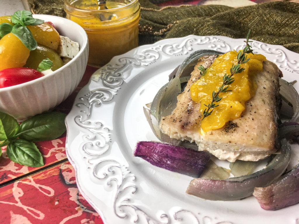 Sheet Pan Mahi Mahi with Mango Sauce